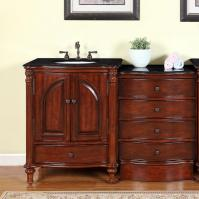 54 Inch Traditional Single Bathroom Vanity with a Black Galaxy Granite Counter Top