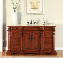 62 Inch Single Sink Bathroom Vanity in Red Oak