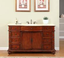 60 Inch Single Sink Bathroom Vanity with Cream Marfil Marble