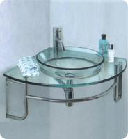 24 Inch Single Sink Corner Mount Glass Bathroom Vanity