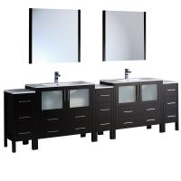 Torino 108 Inch Espresso Modern Double Sink Bathroom VanityShop Large Double Bath Sink Vanities 73   95 Inches with Free  . Large Double Sink Bathroom Vanity. Home Design Ideas