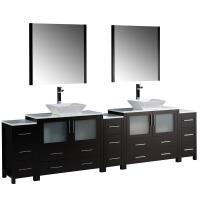 Torino 108 Inch Espresso Modern Double Sink Bathroom Vanit