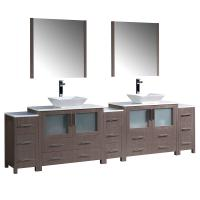 Torino 108 Inch Gray Oak Modern Double Sink Bathroom Vanity