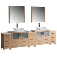 Torino 108 Inch Light Oak Modern Double Sink Bathroom Vanity