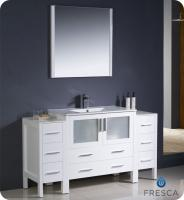 Single Sink Bathroom Vanities on 60 Inch Single Sink Bathroom Vanity In White With Side Cabinets