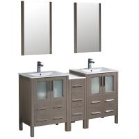 Torino 60 Inch Gray Oak Modern Double Sink Bathroom Vanity