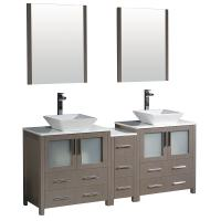 Torino 72 Inch Gray Oak Modern Double Sink Bathroom Vanity