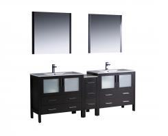 84 Inch Double Sink Bathroom Vanity in Espresso with Ceramic Top