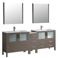 Torino 84 Inch Gray Oak Modern Double Sink Bathroom Vanity