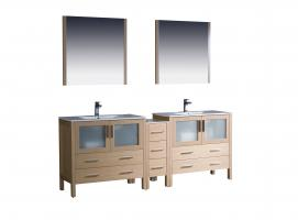 84 Inch Double Sink Bathroom Vanity in Light Oak with Ceramic Top
