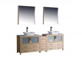 84 Inch Double Vessel Sink Vanity in Light Oak with a Side Cabinet