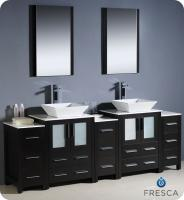 Bathroom Vanity on 84 Inch Double Vessel Sink Bathroom Vanity In White With Side Cabients