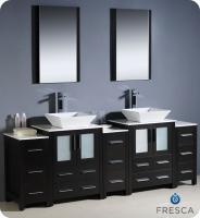 Bathroom Vanity on 84 Inch Double Vessel Sink Bathroom Vanity In White With Side Cabients