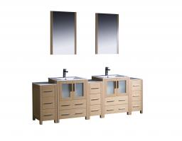 84 Inch Double Bathroom Vanity in Light Oak with Side Cabients