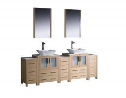 84 Inch Double Vessel Sink Bathroom Vanity in Light Oak with Side Cabients