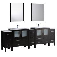 Torino 96 Inch Espresso Modern Double Sink Bathroom Vanity