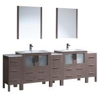 Torino 96 Inch Gray Oak Modern Double Sink Bathroom Vanity