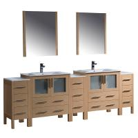96 inch double vanity. Torino 96 Inch Light Oak Modern Double Sink Bathroom Vanity Shop Large Bath Vanities 73  95 Inches with Free