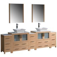 Torino 96 Inch Light Oak Modern Double Sink Bathroom Vanity
