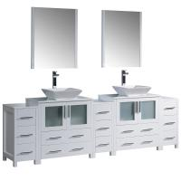 Torino 96 Inch White Modern Double Sink Bathroom Vanity