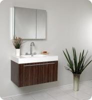 Narrow Depth Bathroom Vanity on 35 5 Inch Walnut Modern Bathroom Vanity With Medicine Cabinet