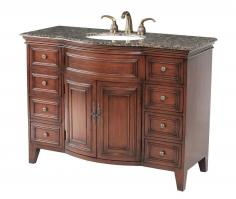 48 Inch Cherry Finish Single Sink Vanity with Choice of Top