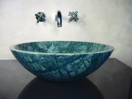 Round Green Marble Stone Vessel Sink