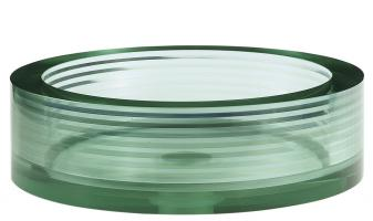 Multi Layer Clear Green Round Glass Vessel Sink