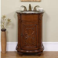 Bathroom Vanity on 24 Inch Traditional Pedestal Single Sink Bathroom Vanity With Brown