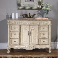 48 Inch Single Sink Vanity with Antique White Finish and Travertine Top