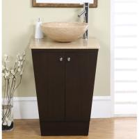 22 Inch Vessel Sink Espresso Vanity with Travertine Sink