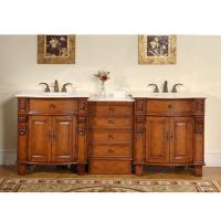 84 Inch Classic Double Sink Vanity with Hand Carved Molding