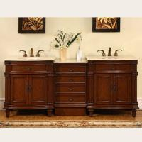 80 Inch Double Sink Bathroom Vanity with Marble