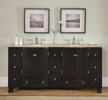 Silkroad Exclusive 72 Inch Double Sink Bathroom Vanity