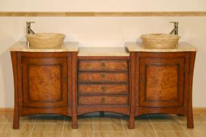 Bathroom Vessel Sinks on 73 Inch Double Vessel Sink Bathroom Vanity With Travertine Uvsr0808t73