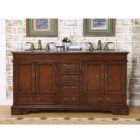60 Inch Furniture Style Double Sink Vanity With Travertine Top