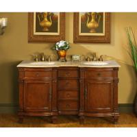 Silkroad Exclusive 60 Inch Double Sink Bathroom Vanity