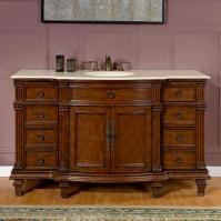 60 Inch Transitional Single Bathroom Vanity with a Cream Marfil Marble Counter Top