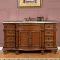 60 Inch Transitional Single Bathroom Vanity with a Kashmir Gold Granite Counter Top