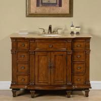 48 Inch Transitional Single Bathroom Vanity with a Travertine Counter Top