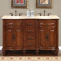 52 Inch Small Double Sink Vanity With Baltic Brown Countertop Uvsr0180bb52