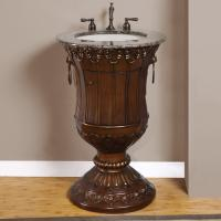 23 inch single bathroom vanity with baltic brown granite - Antique Bathroom Vanity