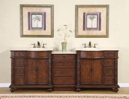 Silkroad Exclusive 90 Inch Double Sink Bathroom Vanity