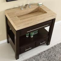 36 Inch Single Sink Cabinet with Espresso Finish and Travertine Top