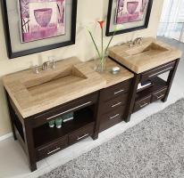 92 Inch Double Sink Cabinet with Espresso Finish and Travertine Top