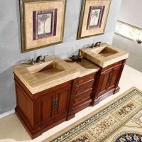 83 Inch Double Sink Vanity with a Unique Travertine Top