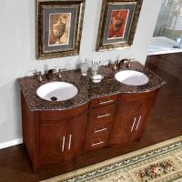 58 inch double sink vanity with a baltic brown top and undermount white ceramic sinks