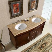 55 Inch Double Sink Vanity with Travertine Top and Undermount White Ceramic Sinks
