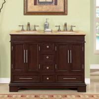 Captivating 48 Inch Double Sink Bathroom Vanity In Dark Walnut