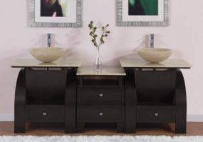 77 Inch Modern Double Bathroom Vanity with Vessel Sink